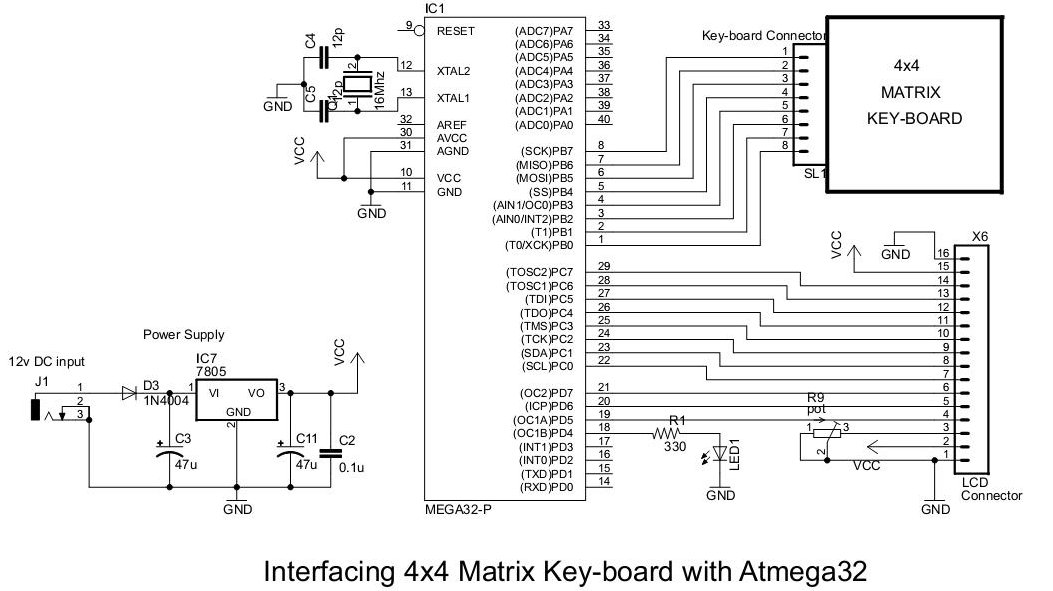4x4 Matrix Key-board Interfacing with ATmega32