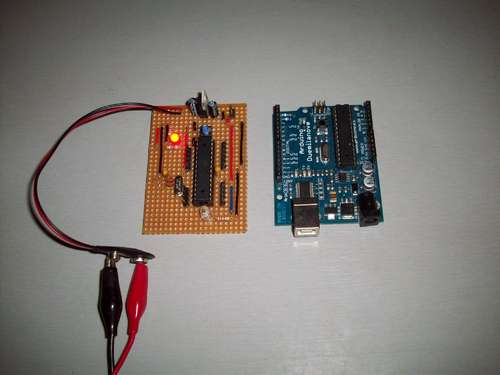 Stripboard Arduino using ATMega168 microcontroller