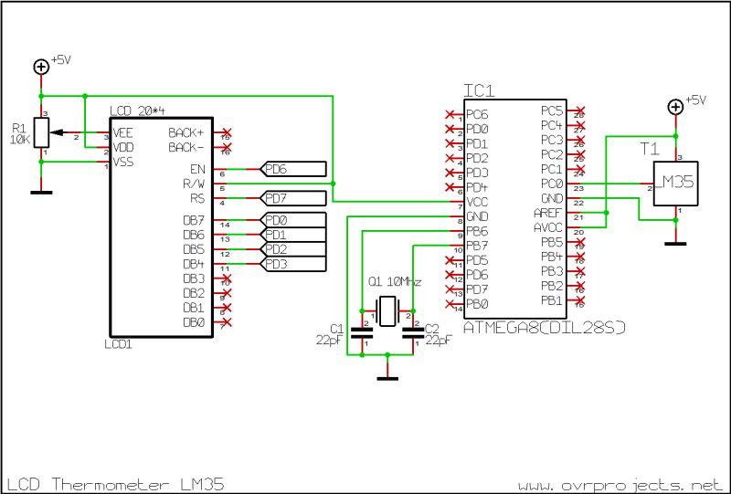 Lcd термометр атмега 8 схема
