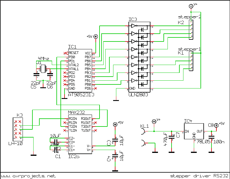 Pc steppermotor driver using at2313 controller Step motor driver circuit