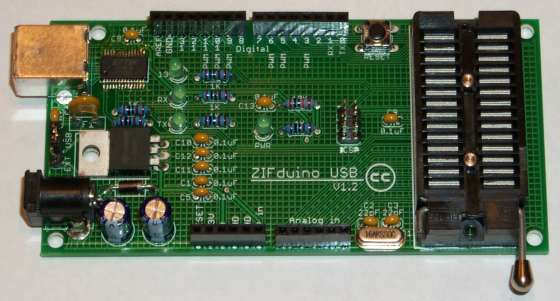 Assembling the ZIFduino USB 1.2 using ATMEGA168 microcontroller