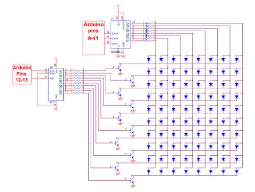 Make a 8x10 L.E.D Matrix using the Arduino and 4017 decade counter