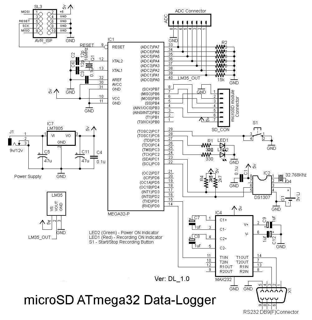 microSD ATmega32 Data-Logger