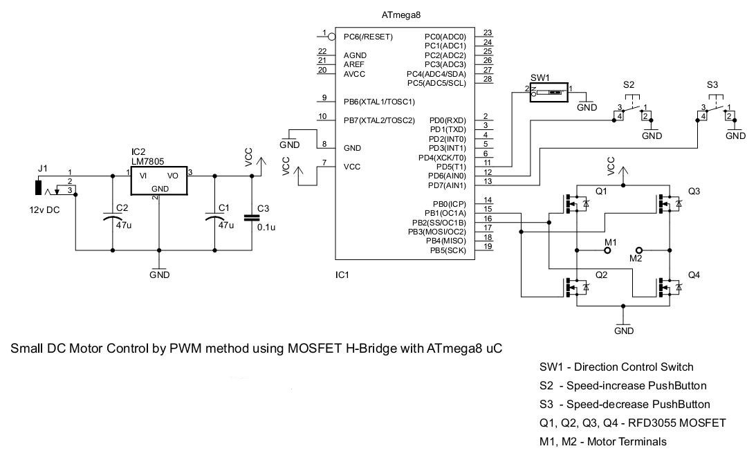 Simple PWM DC motor control using MOSFET H-Bridge with AVR ATmega8