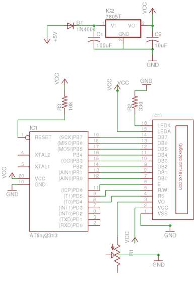 schematic1 AVR LCD Namebadge Using ATtiny2313