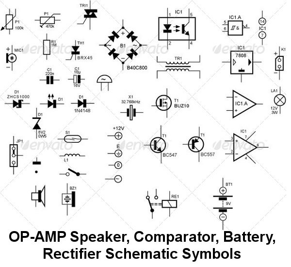 Speaker Wiring Diagram Symbols : Electrical schematic symbols diode get free image about