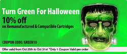Inkjetsuperstore Canada Halloween Green Sale - 10% Off on Aftermarket Printer Ink