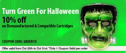 Inkjetsuperstore Canada Halloween Green Sale - 10% Off on Aftermarket Printer Ink