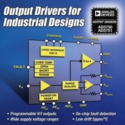 Analog Devices' High Performance Output Drivers Increase Efficiency of Industrial and Process Control Systems :  ADI's new output drivers offer best-in-class performance with industry's highest level of accuracy and diagnostic capability.