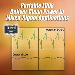 Analog Devices' Linear Regulator Family, Optimized for Noise-Sensitive Portable Applications, is Available in the Industry's Smallest Package :  ADI's new ADP120, ADP121 and ADP130 LDOs deliver the right balance of excellent noise performance and very low quiescent current, allowing mobile electronics designers to quickly and cost-effectively distribute clean power rails to noise-sensitive systems.
