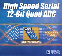 Analog Devices' High-Speed Multi-Channel Analog-to-Digital Converters Reduce System Board Space :  - ADI's AD9239 and AD9639 quad 12-bit analog-to-digital converters use 50 percent less PCB area, yielding space savings for high-bandwidth data acquisition applications.