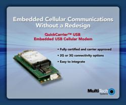 Multi-Tech Announces QuickCarrier USB Embedded Cellular Modem