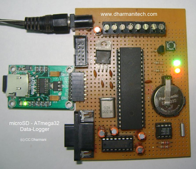 AVR Data Logger with MicroSD using ATmega32 microcontroller