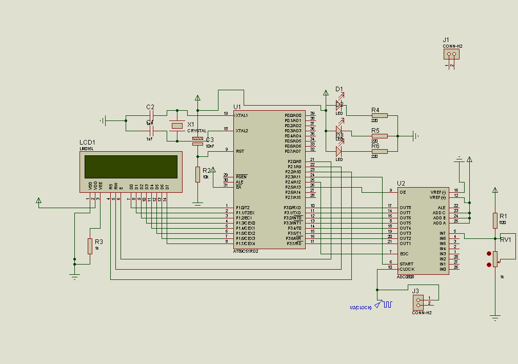 Color Sensor Circuit with AT89S52 ADC0808