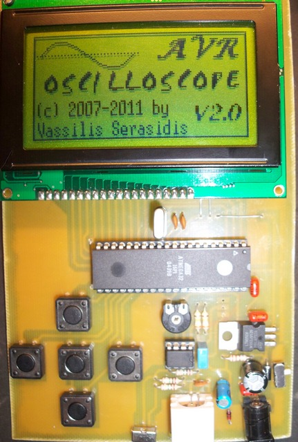 AVR LCD Microcontrolled Oscilloscope using ATmega32 microcontroller