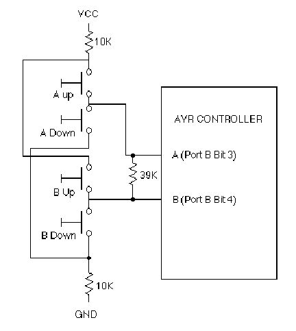 Decoding 4 buttons with two I/O's on AVR using ATtiny12 microcontroller