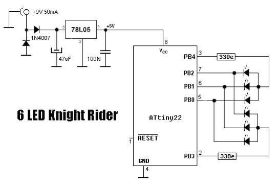 6 LED Knight Rider using ATtiny22 microcontroller