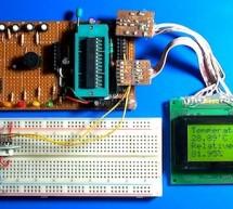 Atmega8 measures ambient temperature and relative humidity using HSM-20G sensor