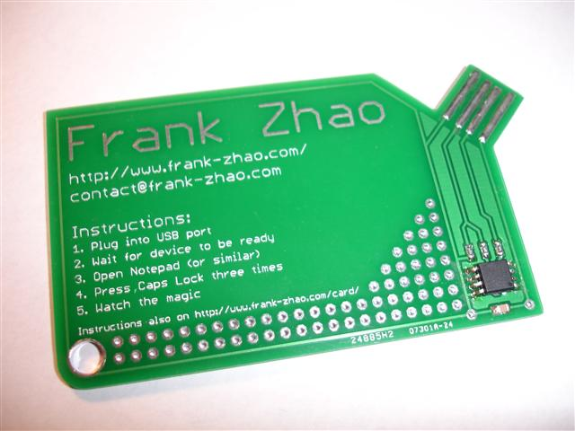 USB business card with a computer chip board using ATtiny85 microcontroller