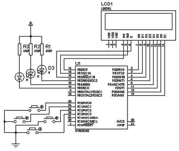 LCD circuit Simplified AVR LCD routines using ATmega8 microcontroller