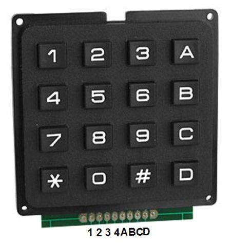 4x4 keypad example using AVR-GCC C language