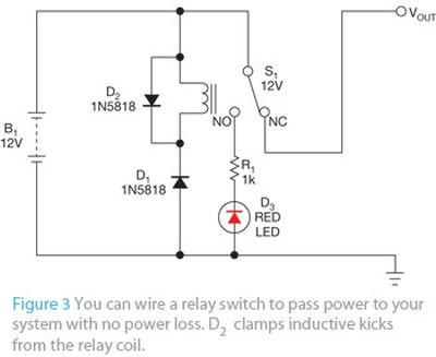 Simple reverse-polarity-protection circuit has no voltage drop