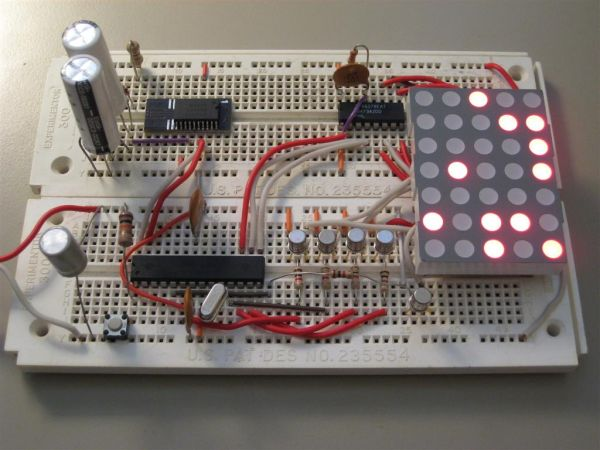 Dot Matrix Arduino Clock using ATMega168