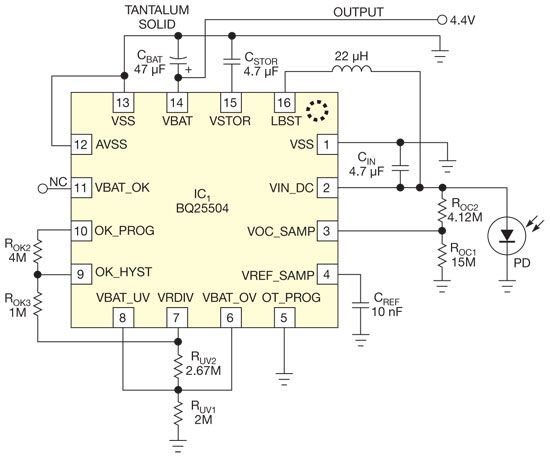 DC-DC converter starts up and operates from a single photocell