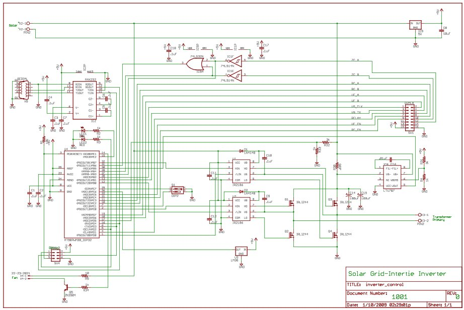 Grid-Intertie Inverter using Attiny45 Schematic