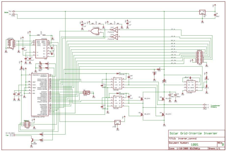 Grid-Intertie Inverter using Attiny45 Schematic