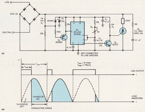555 timer triggers phase-control circuit