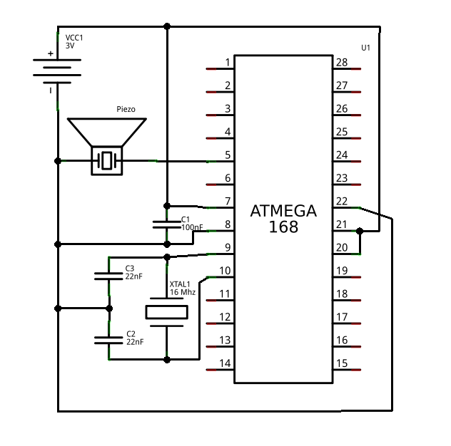 Algorithmic 8-bit workshop using ATMega328 schematic