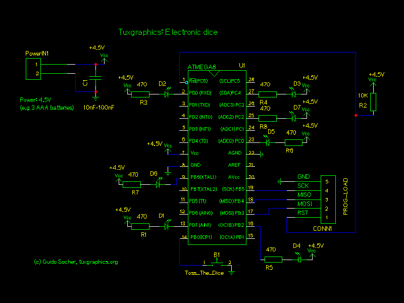 An electronic dice schematic