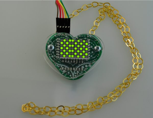 Two LED matrices give 70 LEDs to light up a necklace with