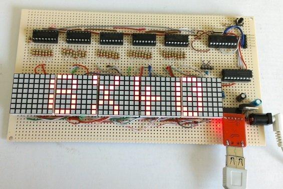 LED matrix marquee using shift registers