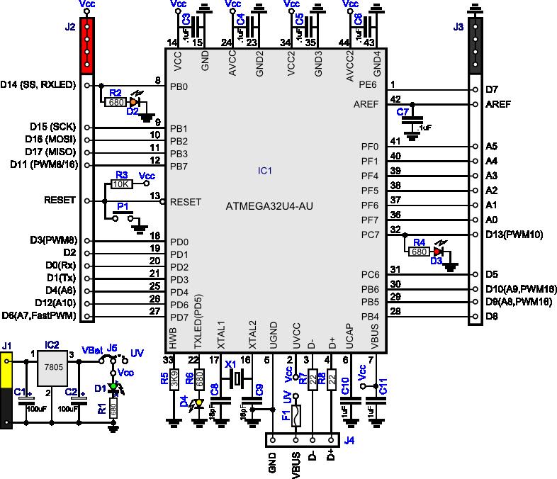 Leonardo Arduino clone schematic