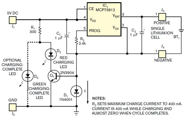 Add charging status to simple lithium-ion charger