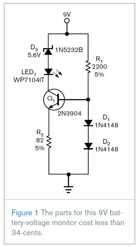 Configure a low-cost, 9V battery-voltage monitor