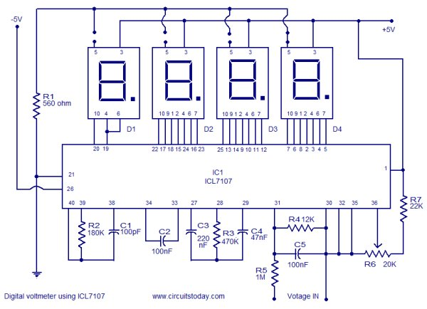 Digital voltmeter using ICL7107