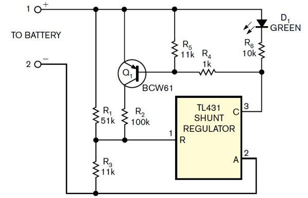 Shunt regulator monitors battery voltage