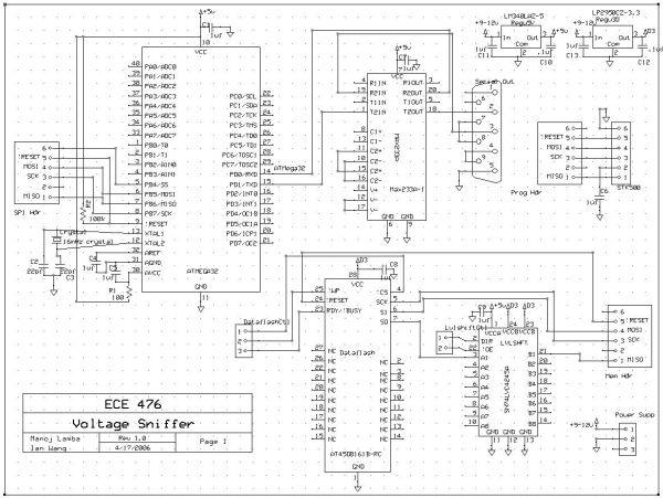 CUAUV Voltage Sniffer Using Atmel Mega32 Schemetic