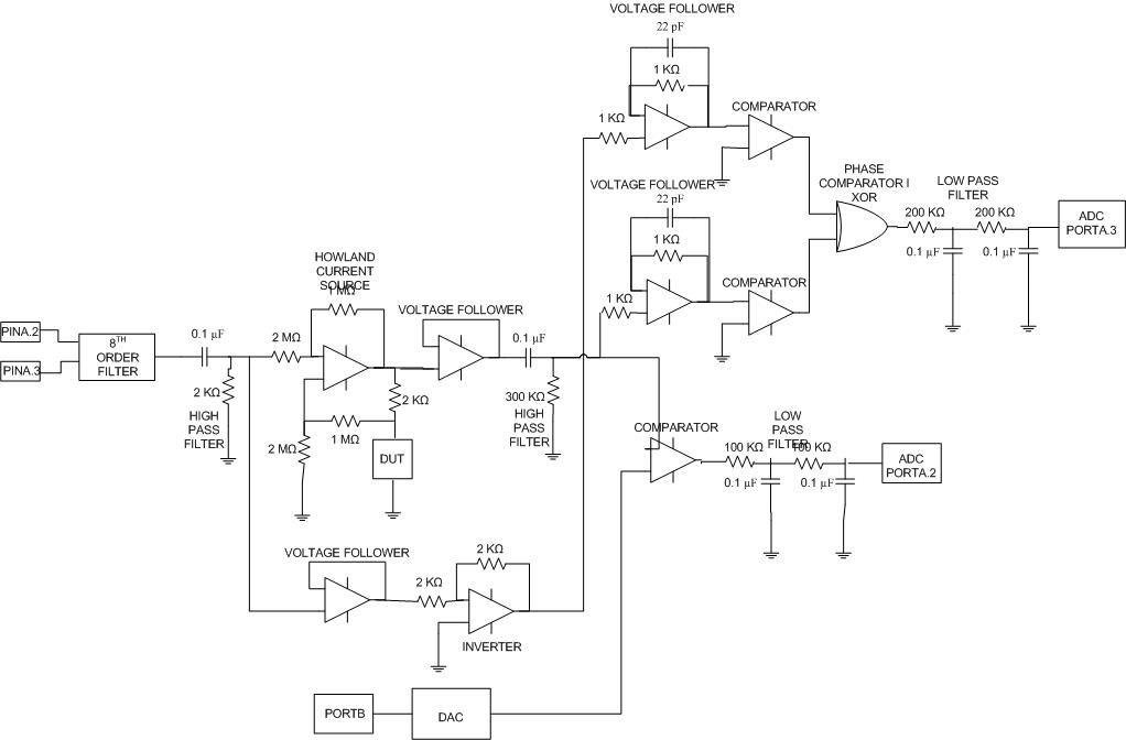 Complex impedance analyzer Using Atmega32 Schemetic
