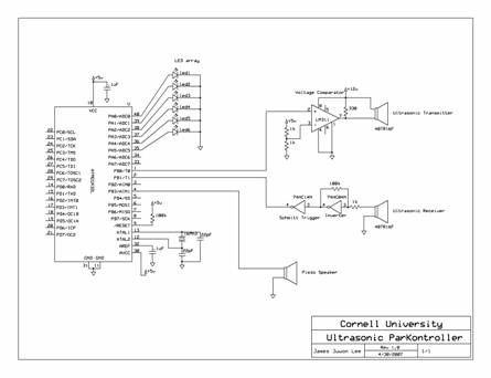 Ultrasonic ParKontroller Using Atmel Mega32 Scemetic