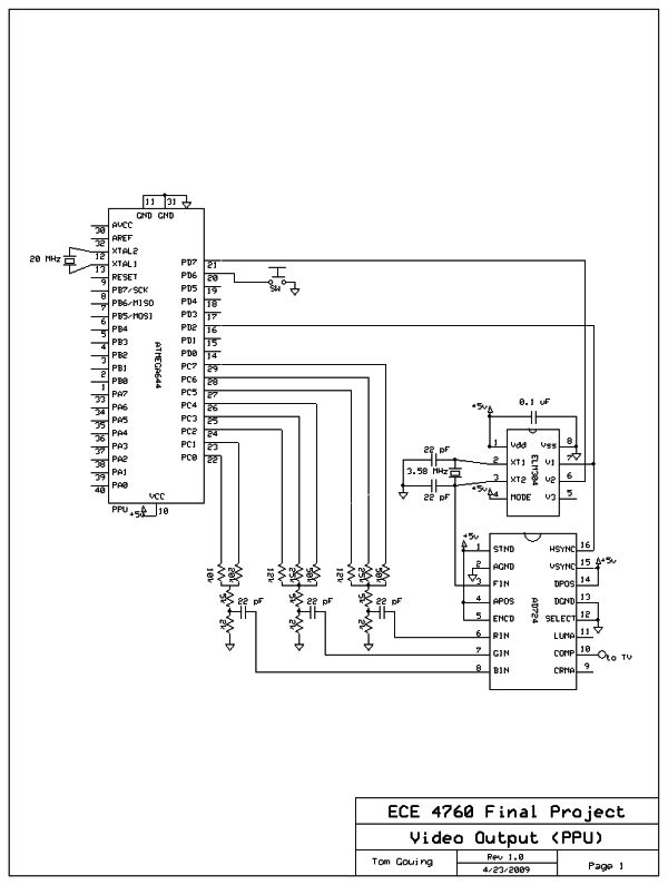 NES EMULATION USING ATMEGA32 SCHEMETIC