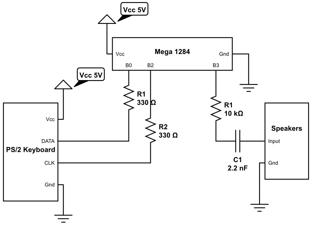 Acoustic Modem Using Atmega1284 Schemetic