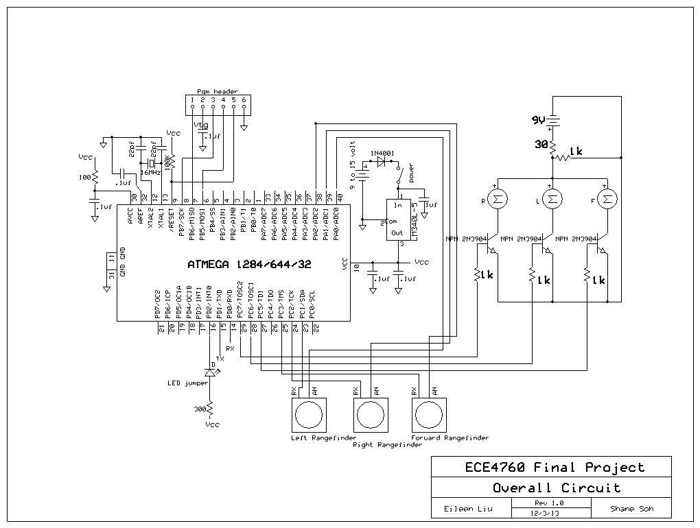 Acoustic Wayfinder Using Atmega1284 Schemetic
