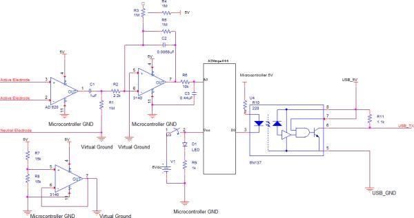 Brain-Computer Interface Using Atmega644 Schemetic