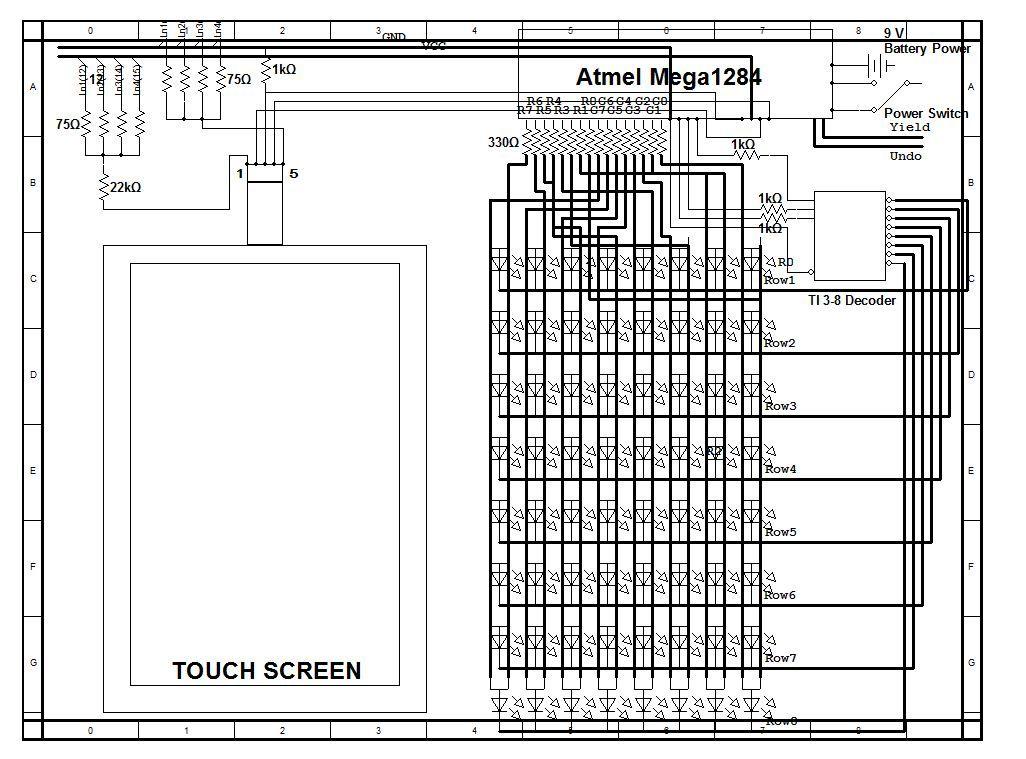Digital Reversi board using Atmega644 Schemetic