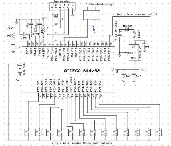 Digital Saxophone Using Atmega644 Schemetic