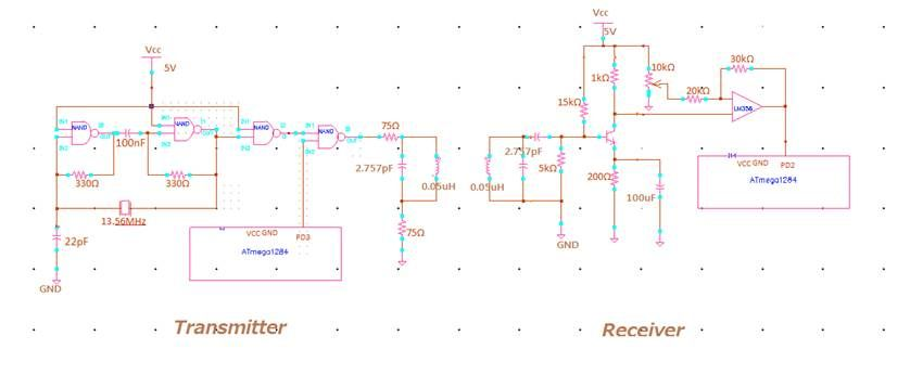 NFC Transmitter and Receiver Using Atmega1284 Schemetic